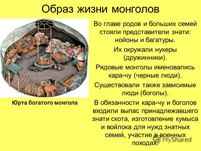 Образ жизни монголов Во главе родов и больших семей стояли представители знати: нойоны и багатуры. Их окружали нукеры (дружинники). Рядовые монголы именовались кара-чу (черные люди). Существовали также зависимые люди (боголы). В обязанности кара-чу и