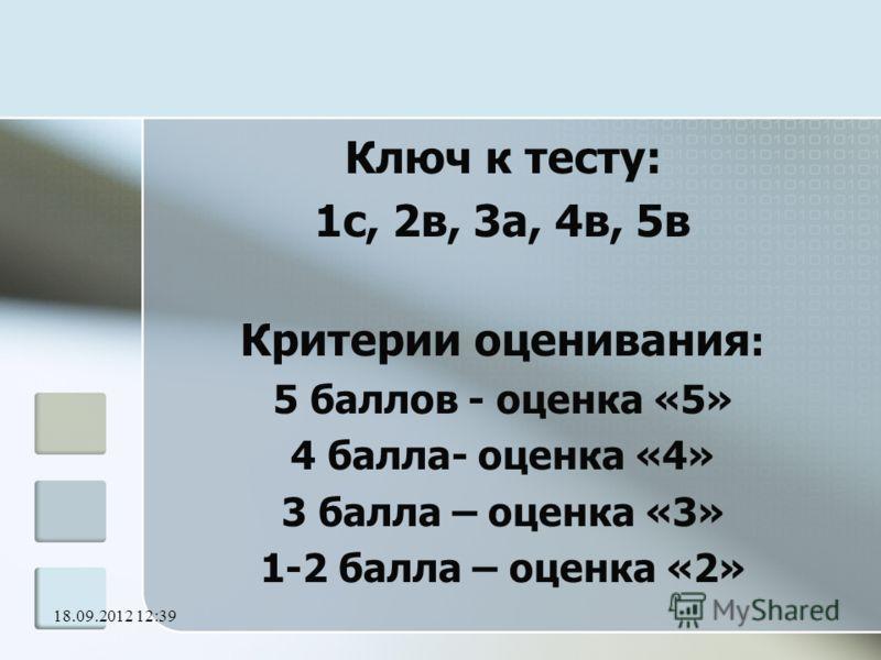 18.09.2012 12:41 Ключ к тесту: 1с, 2в, 3а, 4в, 5в Критерии оценивания : 5 баллов - оценка «5» 4 балла- оценка «4» 3 балла – оценка «3» 1-2 балла – оценка «2»