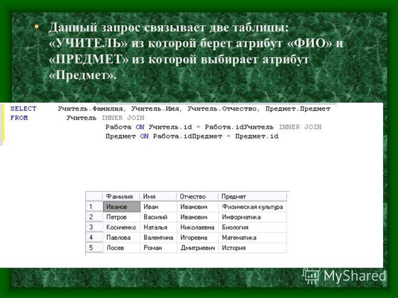 Данный запрос связывает две таблицы: «УЧИТЕЛЬ» из которой берет атрибут «ФИО» и «ПРЕДМЕТ» из которой выбирает атрибут «Предмет».