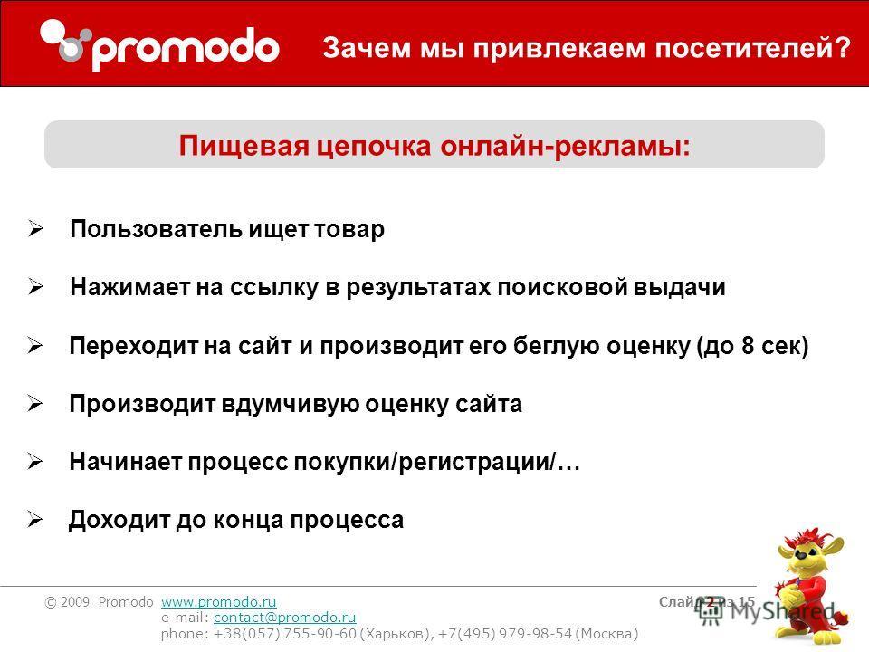 © 2009 Promodo www.promodo.ru e-mail: contact@promodo.rucontact@promodo.ru phone: +38(057) 755-90-60 (Харьков), +7(495) 979-98-54 (Москва) Слайд 2 из 15 Зачем мы привлекаем посетителей? Пищевая цепочка онлайн-рекламы: Пользователь ищет товар Нажимает