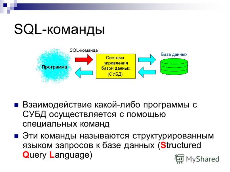 SQL-команды Взаимодействие какой-либо программы с СУБД осуществляется с помощью специальных команд Эти команды называются структурированным языком запросов к базе данных (Structured Query Language)
