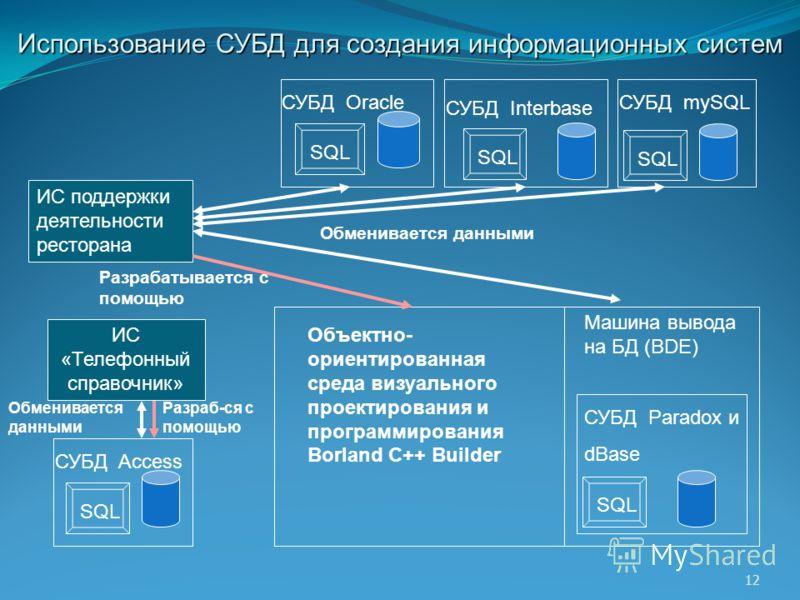 12 Использование СУБД для создания информационных систем СУБД mySQL SQL СУБД Access SQL СУБД Paradox и dBase SQL СУБД Interbase SQL Объектно- ориентированная среда визуального проектирования и программирования Borland C++ Builder ИС поддержки деятель