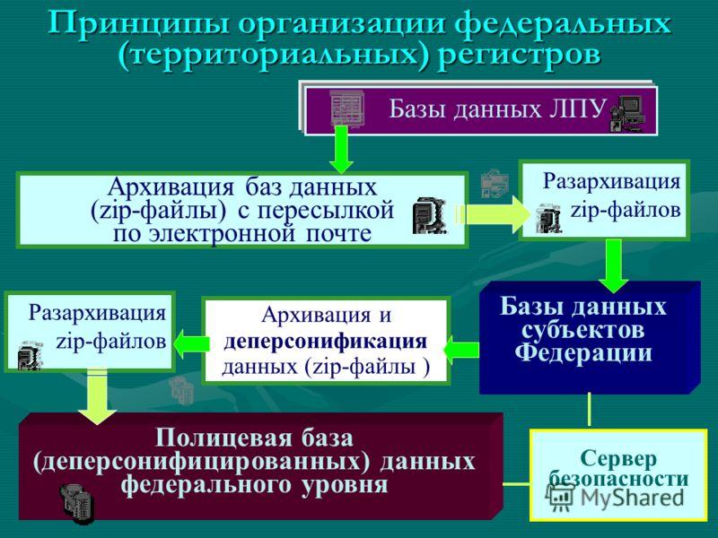 Принципы организации федеральных (территориальных) регистров Базы данных ЛПУ Архивация баз данных (zip-файлы) c пересылкой по электронной почте Разархивация zip-файлов Базы данных субъектов Федерации Полицевая база (деперсонифицированных) данных феде