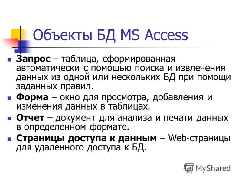 Объекты БД MS Access Запрос – таблица, сформированная автоматически с помощью поиска и извлечения данных из одной или нескольких БД при помощи заданных правил. Форма – окно для просмотра, добавления и изменения данных в таблицах. Отчет – документ для