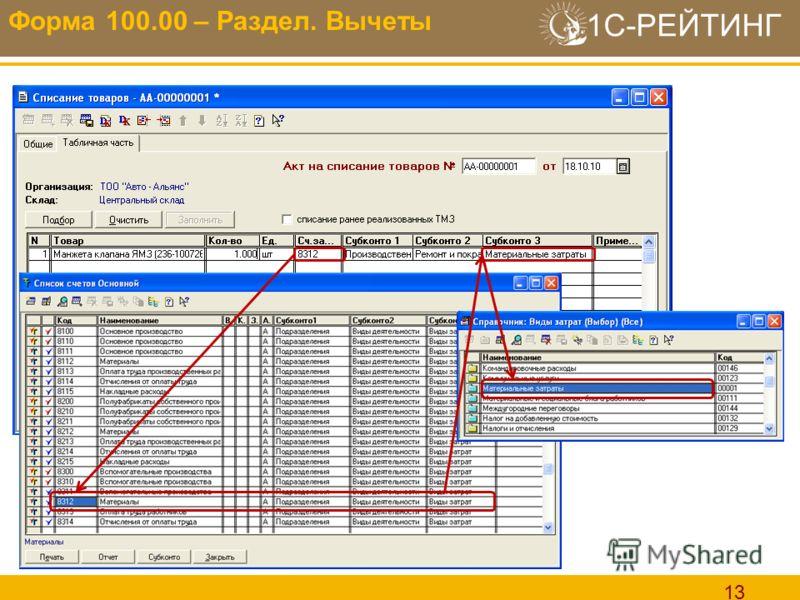 1С-РЕЙТИНГ 13 Форма 100.00 – Раздел. Вычеты