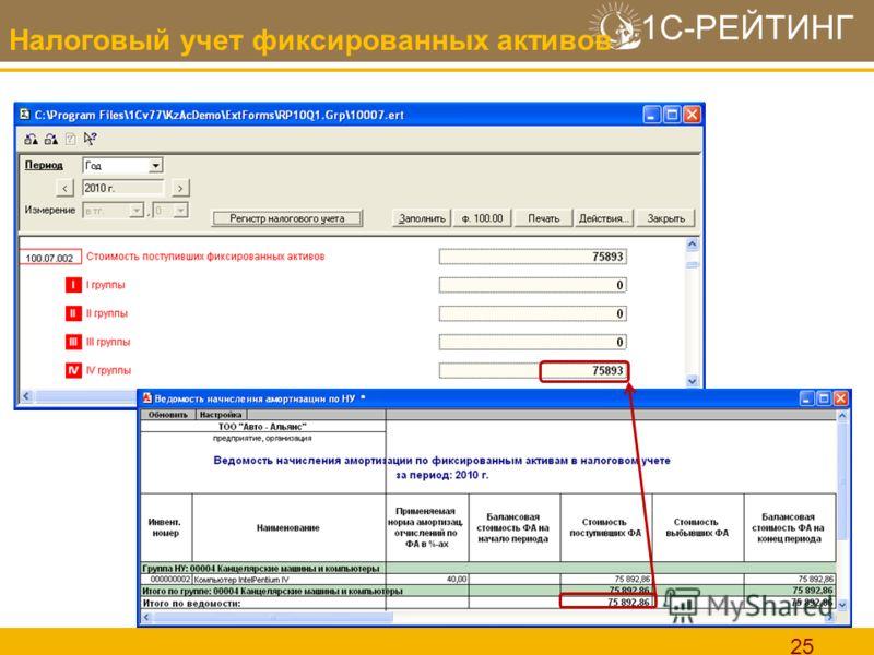 1С-РЕЙТИНГ 25 Налоговый учет фиксированных активов