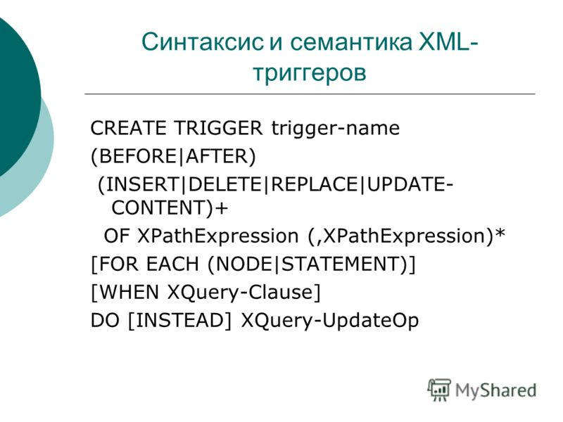Синтаксис и семантика XML- триггеров CREATE TRIGGER trigger-name (BEFORE|AFTER) (INSERT|DELETE|REPLACE|UPDATE- CONTENT)+ OF XPathExpression (,XPathExpression)* [FOR EACH (NODE|STATEMENT)] [WHEN XQuery-Clause] DO [INSTEAD] XQuery-UpdateOp