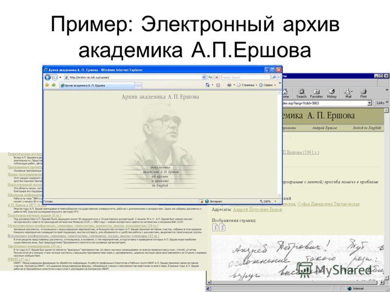 Пример: Электронный архив академика А.П.Ершова