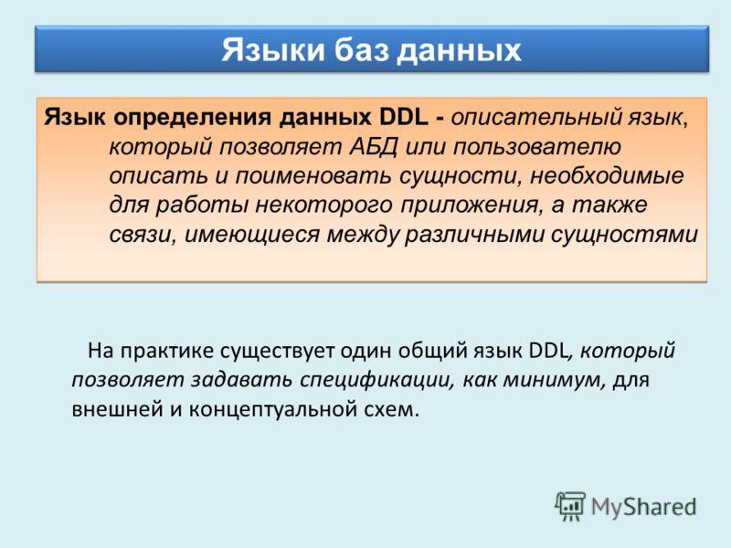 Языки баз данных Язык определения данных DDL - описательный язык, который позволяет АБД или пользователю описать и поименовать сущности, необходимые для работы некоторого приложения, а также связи, имеющиеся между различными сущностями На практике су