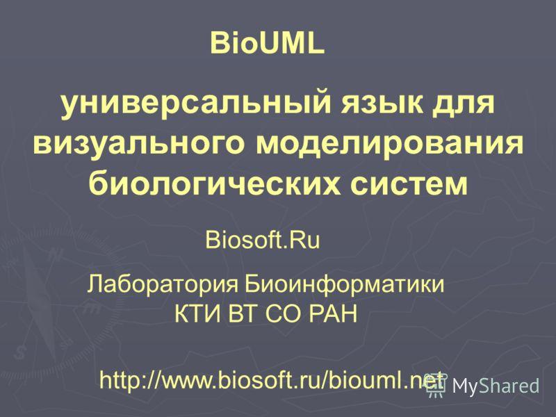 http://www.biosoft.ru/biouml.net BioUML универсальный язык для визуального моделирования биологических систем Biosoft.Ru Лаборатория Биоинформатики КТИ ВТ СО РАН