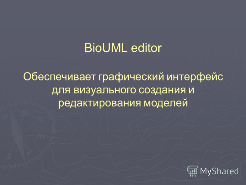 BioUML editor Обеспечивает графический интерфейс для визуального создания и редактирования моделей