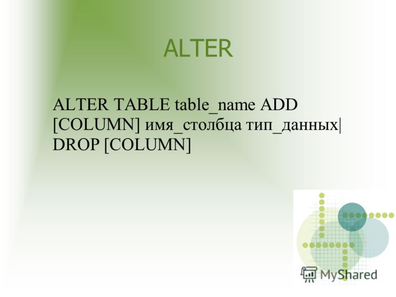 ALTER ALTER TABLE table_name ADD [COLUMN] имя_столбца тип_данных  DROP [COLUMN]