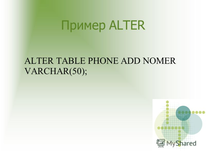 Пример ALTER ALTER TABLE PHONE ADD NOMER VARCHAR(50);