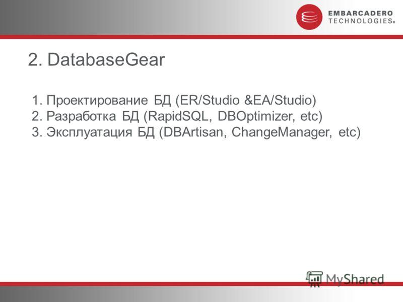 2. DatabaseGear 1. Проектирование БД (ER/Studio &EA/Studio) 2. Разработка БД (RapidSQL, DBOptimizer, etc) 3. Эксплуатация БД (DBArtisan, ChangeManager, etc)