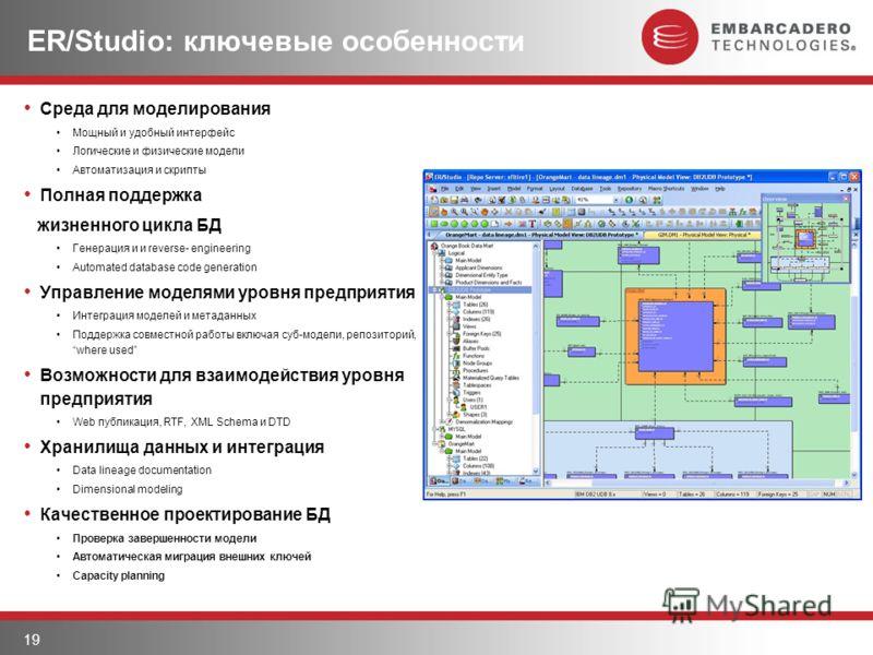 19 ER/Studio: ключевые особенности Среда для моделирования Мощный и удобный интерфейс Логические и физические модели Автоматизация и скрипты Полная поддержка жизненного цикла БД Генерация и и reverse- engineering Automated database code generation Уп