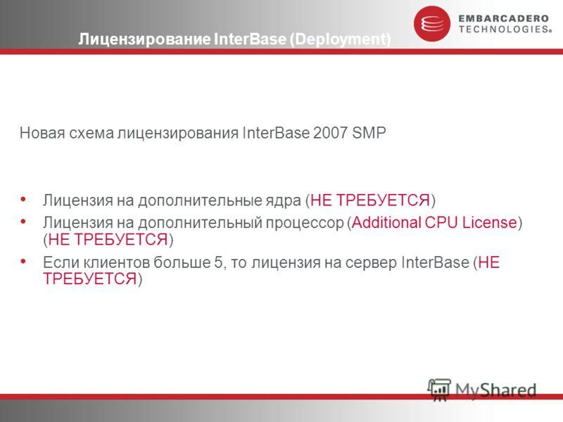 Лицензирование InterBase (Deployment) Новая схема лицензирования InterBase 2007 SMP Лицензия на дополнительные ядра (НЕ ТРЕБУЕТСЯ) Лицензия на дополнительный процессор (Additional CPU License) (НЕ ТРЕБУЕТСЯ) Если клиентов больше 5, то лицензия на сер