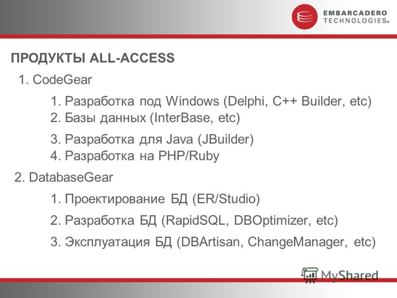 ПРОДУКТЫ ALL-ACCESS 1. CodeGear 1. Разработка под Windows (Delphi, C++ Builder, etc) 2. Базы данных (InterBase, etc) 3. Разработка для Java (JBuilder) 4. Разработка на PHP/Ruby 2. DatabaseGear 1. Проектирование БД (ER/Studio) 2. Разработка БД (RapidS
