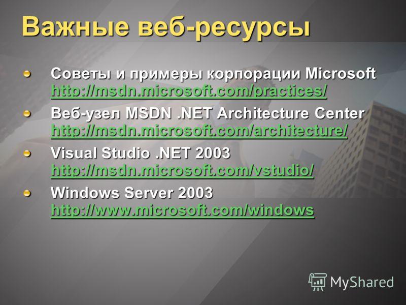 Важные веб-ресурсы Советы и примеры корпорации Microsoft http://msdn.microsoft.com/practices/ http://msdn.microsoft.com/practices/ Веб-узел MSDN.NET Architecture Center http://msdn.microsoft.com/architecture/ http://msdn.microsoft.com/architecture/ V