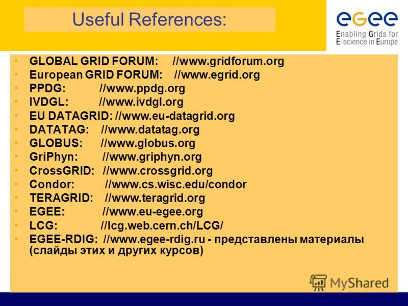 Useful References: GLOBAL GRID FORUM: //www.gridforum.org European GRID FORUM: //www.egrid.org PPDG: //www.ppdg.org IVDGL: //www.ivdgl.org EU DATAGRID: //www.eu-datagrid.org DATATAG: //www.datatag.org GLOBUS: //www.globus.org GriPhyn: //www.griphyn.o