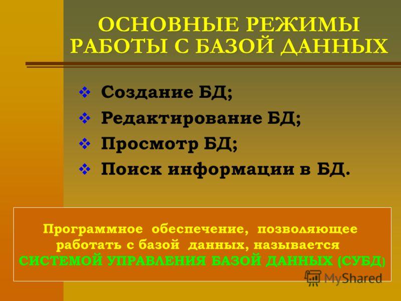 ОСНОВНЫЕ РЕЖИМЫ РАБОТЫ С БАЗОЙ ДАННЫХ Создание БД; Редактирование БД; Просмотр БД; Поиск информации в БД. Программное обеспечение, позволяющее работать с базой данных, называется СИСТЕМОЙ УПРАВЛЕНИЯ БАЗОЙ ДАННЫХ (СУБД )