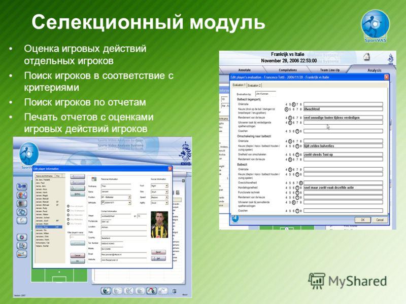 Селекционный модуль Оценка игровых действий отдельных игроков Поиск игроков в соответствие с критериями Поиск игроков по отчетам Печать отчетов с оценками игровых действий игроков