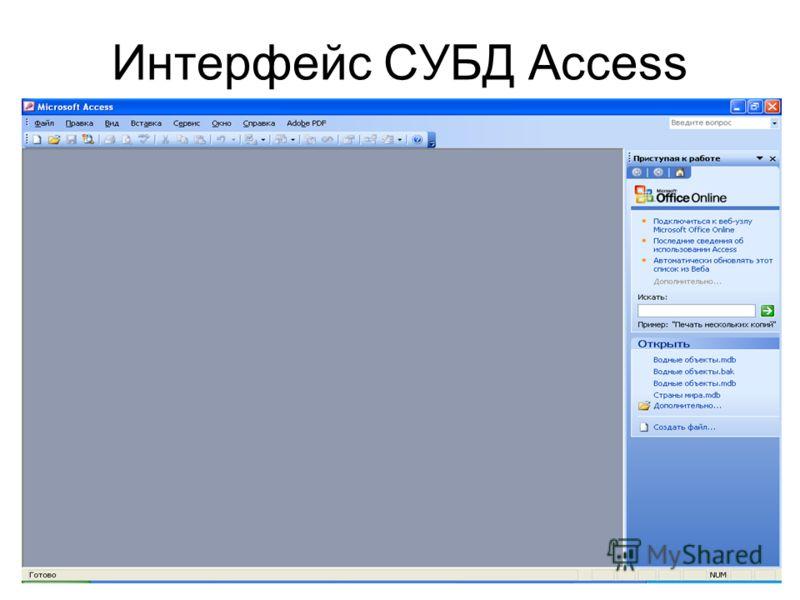 Интерфейс СУБД Access