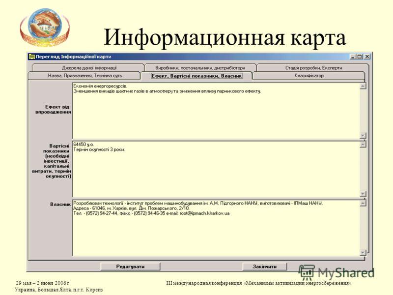 29 мая – 2 июня 2006 г Украина, Большая Ялта, п.г.т. Кореиз III международная конференция «Механизмы активизации энергосбережения» Информационная карта