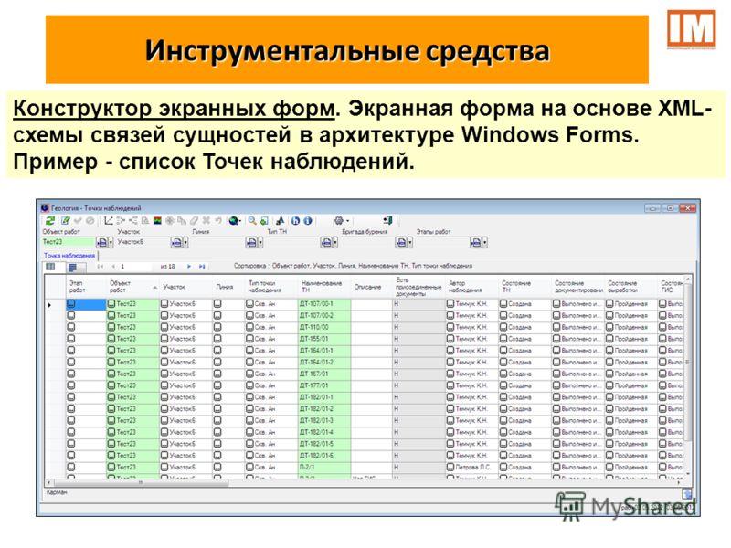 Инструментальные средства Конструктор экранных форм. Экранная форма на основе XML- схемы связей сущностей в архитектуре Windows Forms. Пример - список Точек наблюдений.