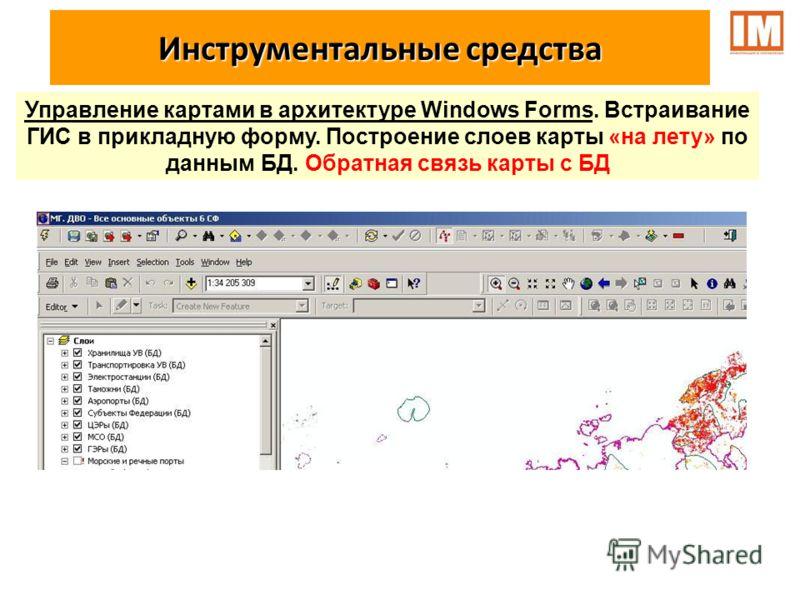 Управление картами в архитектуре Windows Forms. Встраивание ГИС в прикладную форму. Построение слоев карты «на лету» по данным БД. Обратная связь карты с БД Инструментальные средства