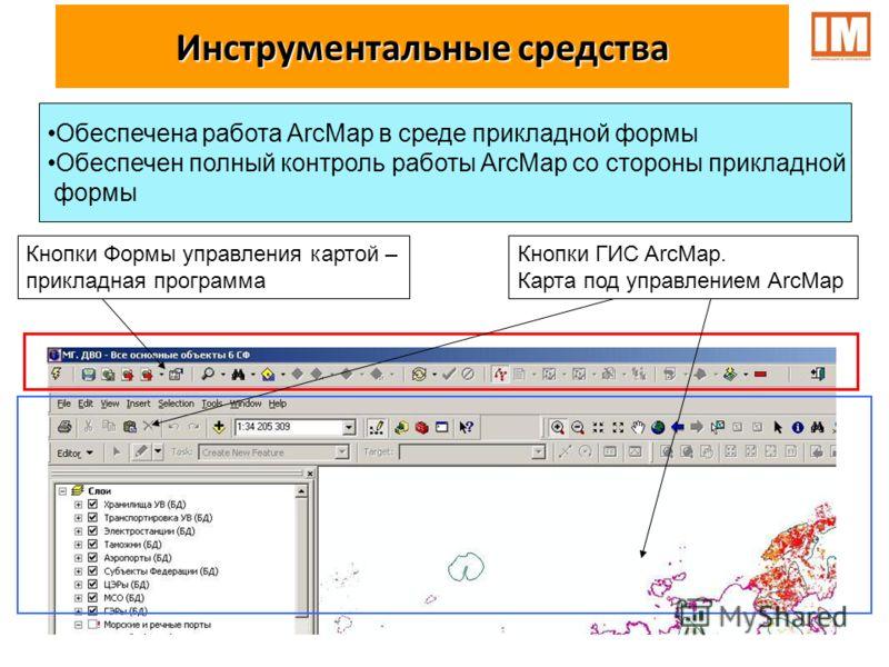 Кнопки Формы управления картой – прикладная программа Кнопки ГИС ArcMap. Карта под управлением ArcMap Обеспечена работа ArcMap в среде прикладной формы Обеспечен полный контроль работы ArcMap со стороны прикладной формы Инструментальные средства