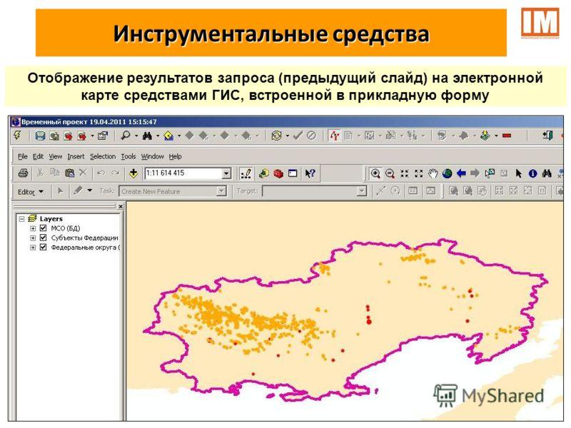 Отображение результатов запроса (предыдущий слайд) на электронной карте средствами ГИС, встроенной в прикладную форму Инструментальные средства