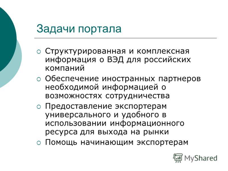 Задачи портала Структурированная и комплексная информация о ВЭД для российских компаний Обеспечение иностранных партнеров необходимой информацией о возможностях сотрудничества Предоставление экспортерам универсального и удобного в использовании инфор