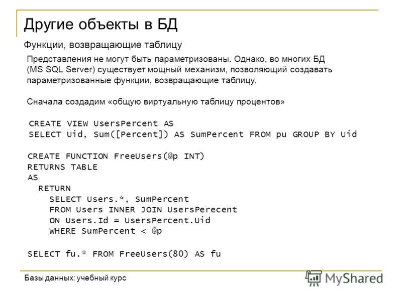 Другие объекты в БД Базы данных: учебный курс Функции, возвращающие таблицу Представления не могут быть параметризованы. Однако, во многих БД (MS SQL Server) существует мощный механизм, позволяющий создавать параметризованные функции, возвращающие та