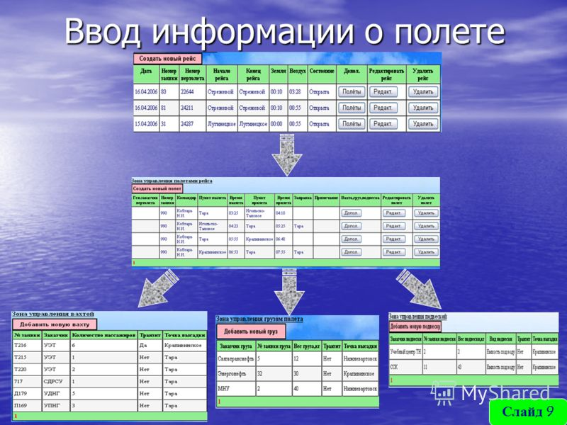 Ввод информации о полете Слайд 9