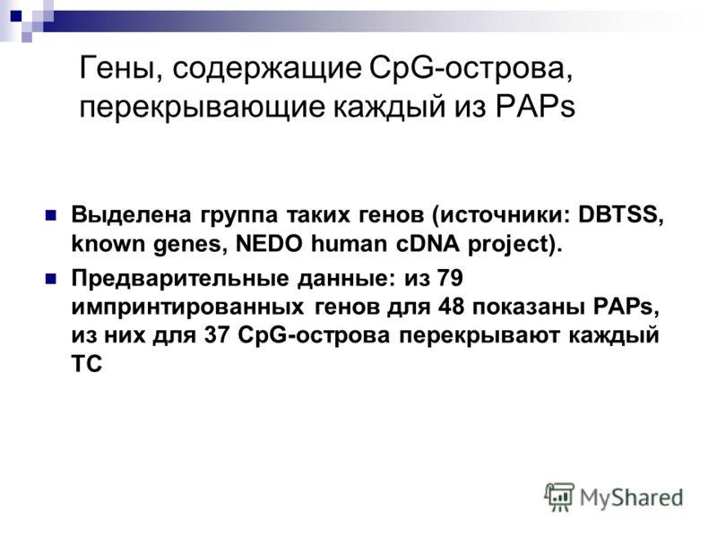 Гены, содержащие CpG-острова, перекрывающие каждый из PAPs Выделена группа таких генов (источники: DBTSS, known genes, NEDO human cDNA project). Предварительные данные: из 79 импринтированных генов для 48 показаны PAPs, из них для 37 CpG-острова пере