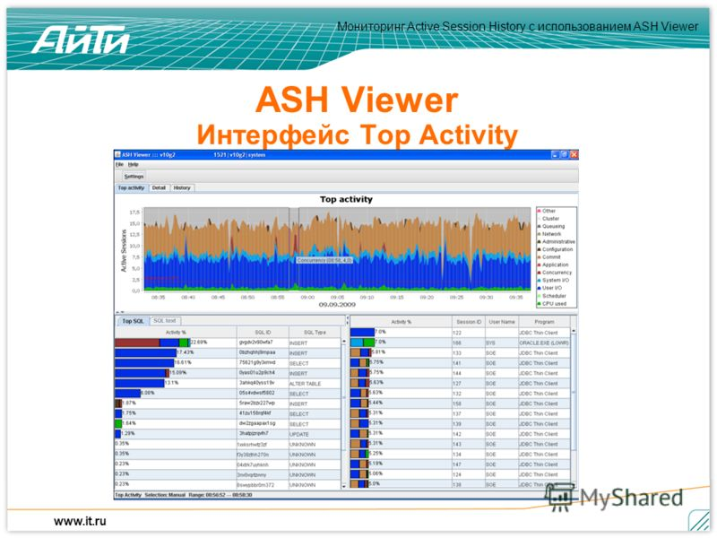 Мониторинг Active Session History c использованием ASH Viewer www.it.ru ASH Viewer Интерфейс Top Activity