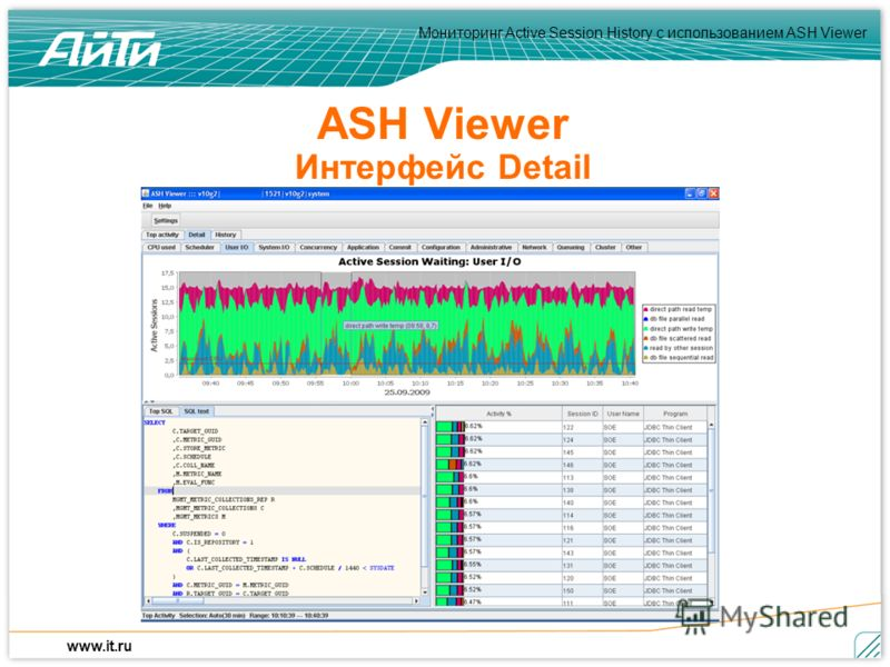 Мониторинг Active Session History c использованием ASH Viewer www.it.ru ASH Viewer Интерфейс Detail