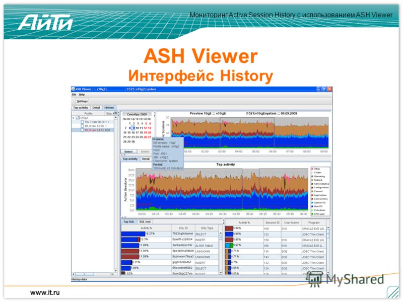 Мониторинг Active Session History c использованием ASH Viewer www.it.ru ASH Viewer Интерфейс History