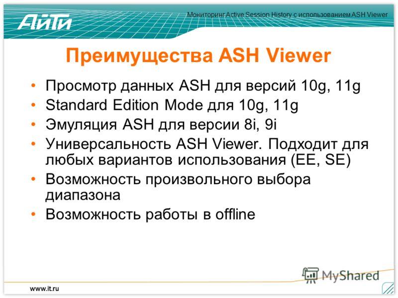 Мониторинг Active Session History c использованием ASH Viewer www.it.ru Преимущества ASH Viewer Просмотр данных ASH для версий 10g, 11g Standard Edition Mode для 10g, 11g Эмуляция ASH для версии 8i, 9i Универсальность ASH Viewer. Подходит для любых в