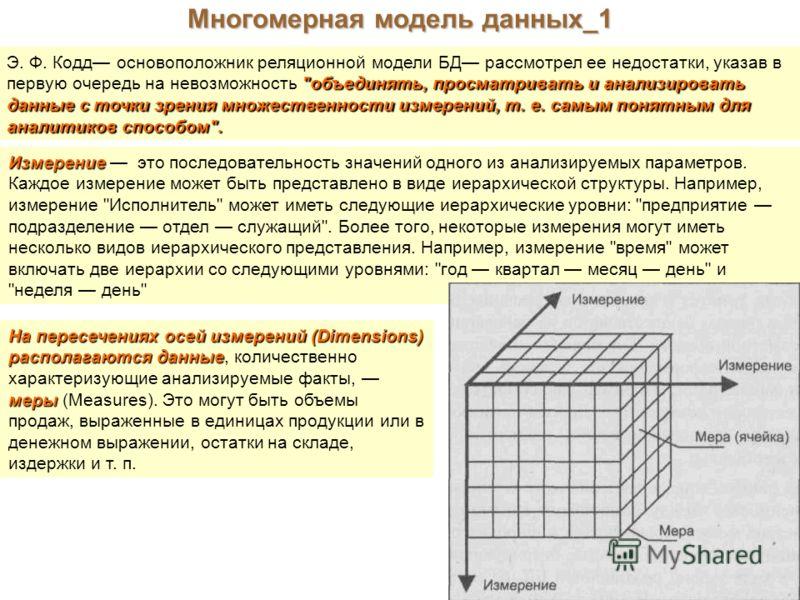 Многомерная модель данных_1 Э. Ф. Кодд основоположник реляционной модели БД рассмотрел ее недостатки, указав в