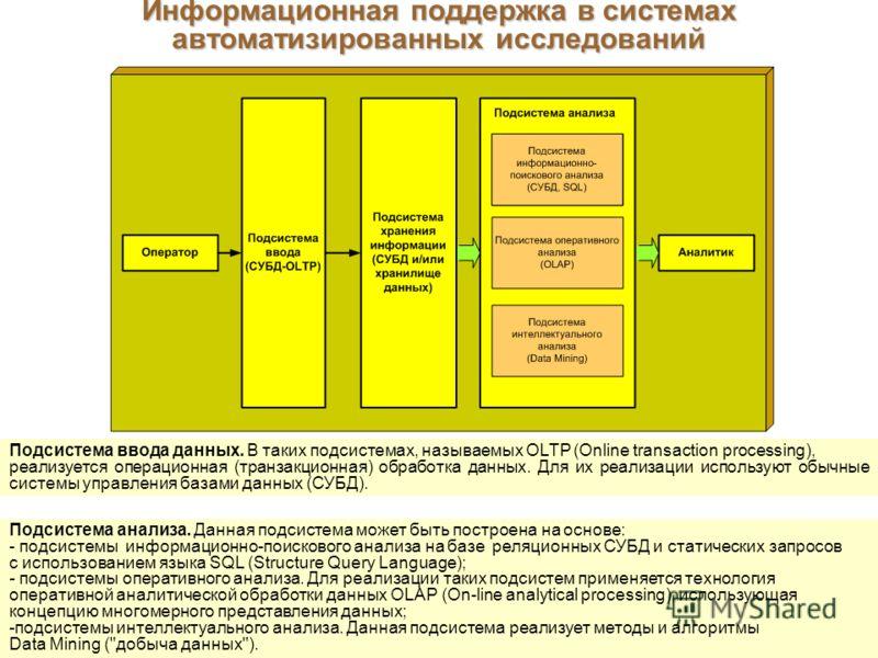 Информационная поддержка в системах автоматизированных исследований Подсистема анализа. Данная подсистема может быть построена на основе: - подсистемы информационно-поискового анализа на базе реляционных СУБД и статических запросов с использованием я