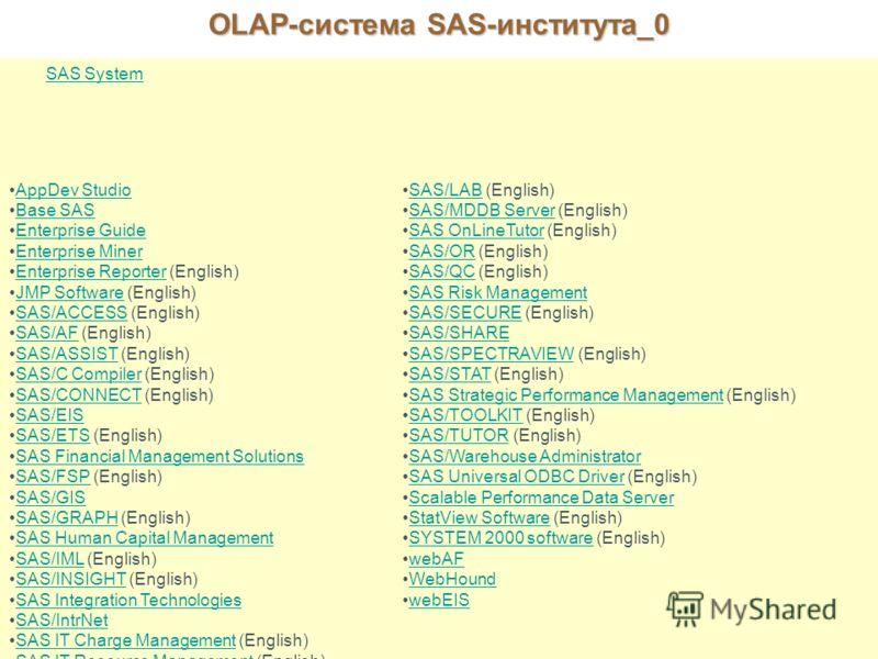 OLAP-система SAS-института_0 Рассмотрите подробнее предлагаемые нами продукты: SAS System AppDev Studio Base SAS Enterprise Guide Enterprise Miner Enterprise Reporter (English)Enterprise Reporter JMP Software (English)JMP Software SAS/ACCESS (English