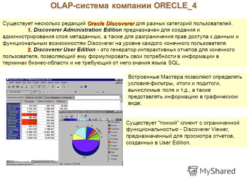 OLAP-система компании ORECLE_4 Oracle Discoverer Существует несколько редакций Oracle Discoverer для разных категорий пользователей. 1.Discoverer Administration Edition 1. Discoverer Administration Edition предназначен для создания и администрировани