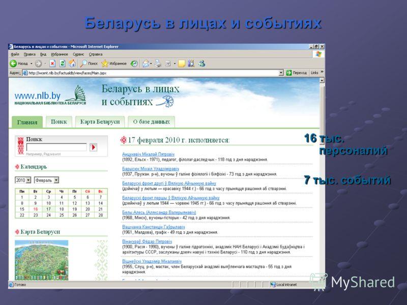 Беларусь в лицах и событиях 16 тыс. персоналий 7 тыс. событий