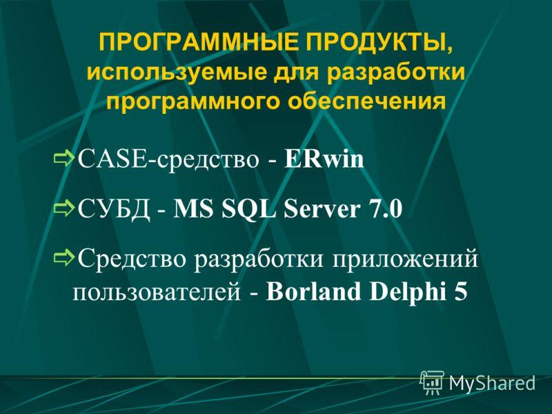 ПРОГРАММНЫЕ ПРОДУКТЫ, используемые для разработки программного обеспечения CASE-средство - ERwin СУБД - MS SQL Server 7.0 Средство разработки приложений пользователей - Borland Delphi 5