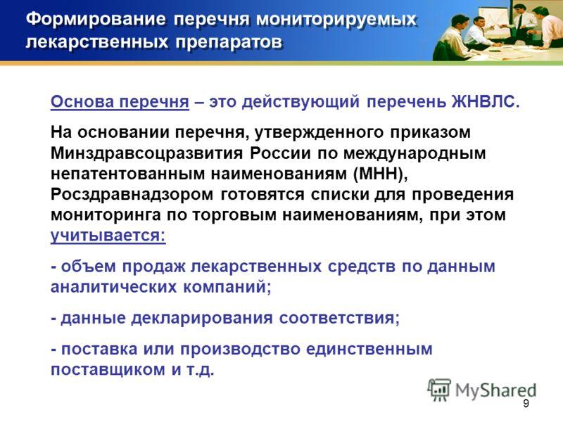 9 Формирование перечня мониторируемых лекарственных препаратов Основа перечня – это действующий перечень ЖНВЛС. На основании перечня, утвержденного приказом Минздравсоцразвития России по международным непатентованным наименованиям (МНН), Росздравнадз
