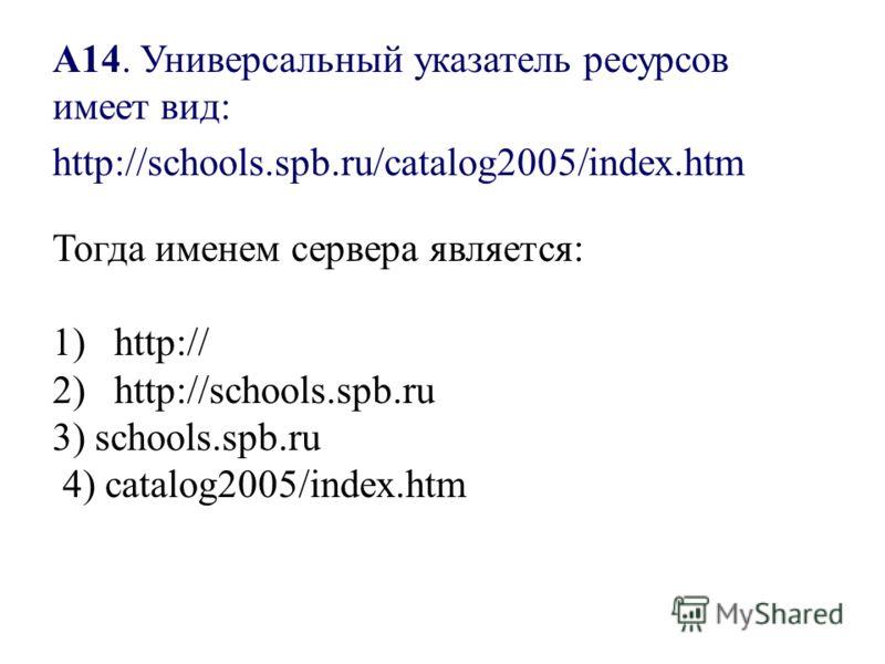 А14. Универсальный указатель ресурсов имеет вид: Тогда именем сервера является: 1) http:// 2) http://schools.spb.ru 3) schools.spb.ru 4) catalog2005/index.htm http://schools.spb.ru/catalog2005/index.htm