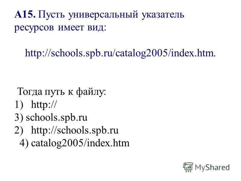 А15. Пусть универсальный указатель ресурсов имеет вид: http://schools.spb.ru/catalog2005/index.htm. Тогда путь к файлу: 1) http:// 3) schools.spb.ru 2) http://schools.spb.ru 4) catalog2005/index.htm