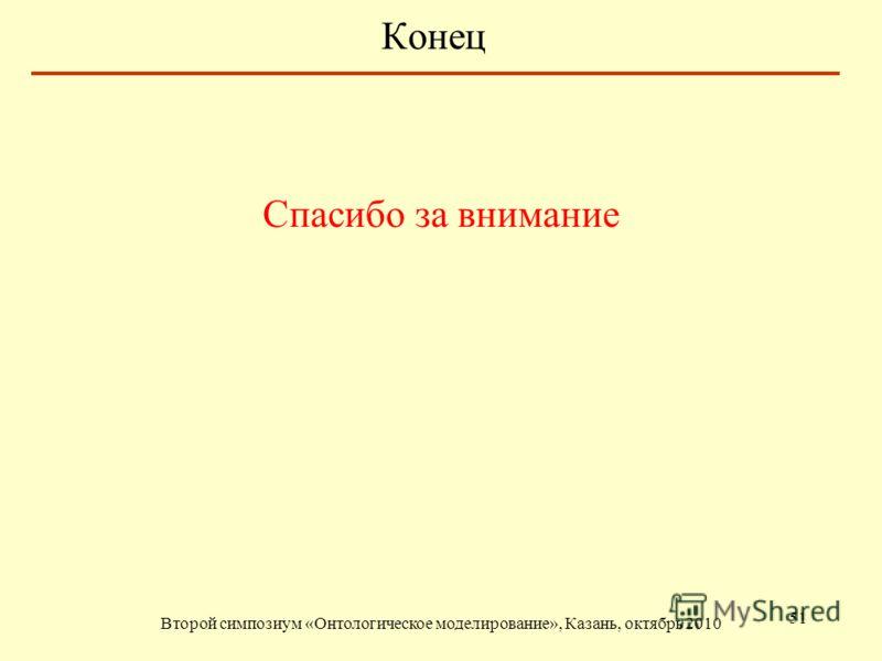 Конец Спасибо за внимание Второй симпозиум «Онтологическое моделирование», Казань, октябрь 2010 51