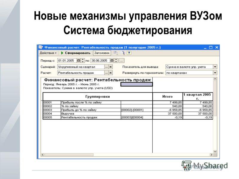 Новые механизмы управления ВУЗом Система бюджетирования